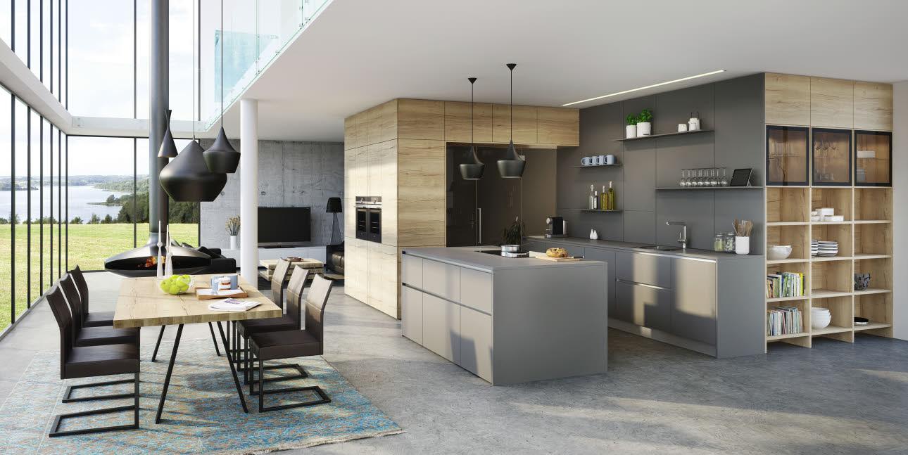 Ewe vida mountain oak basalt grey kitchen ewe for Kitchen cabinet trends 2018 combined with create your own wall art online