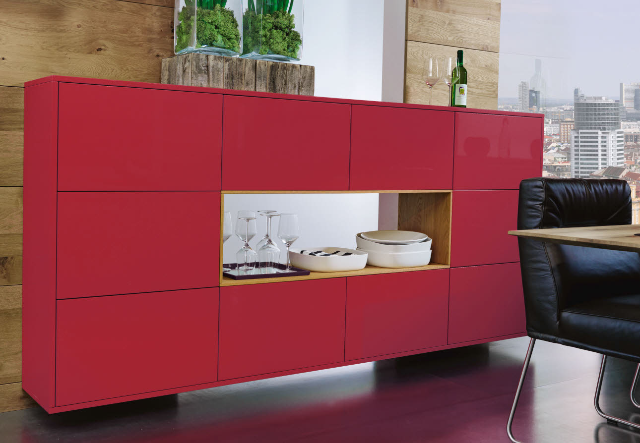 ewe Lucca - carneol red/wild oak sideboard