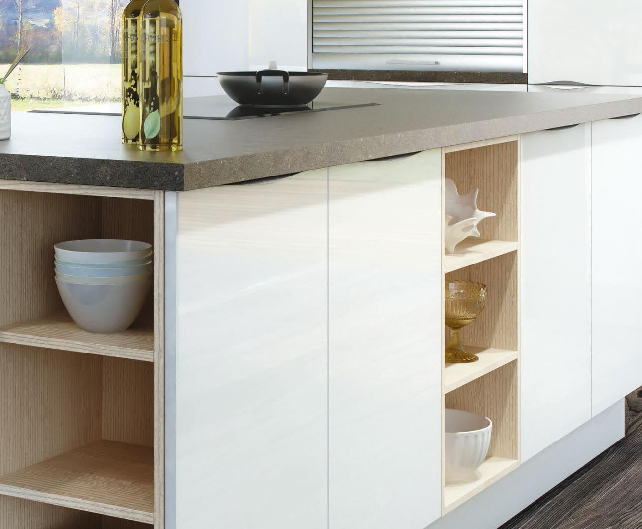 Luna Weiße Hochglanz Küche Inselblock Ewe