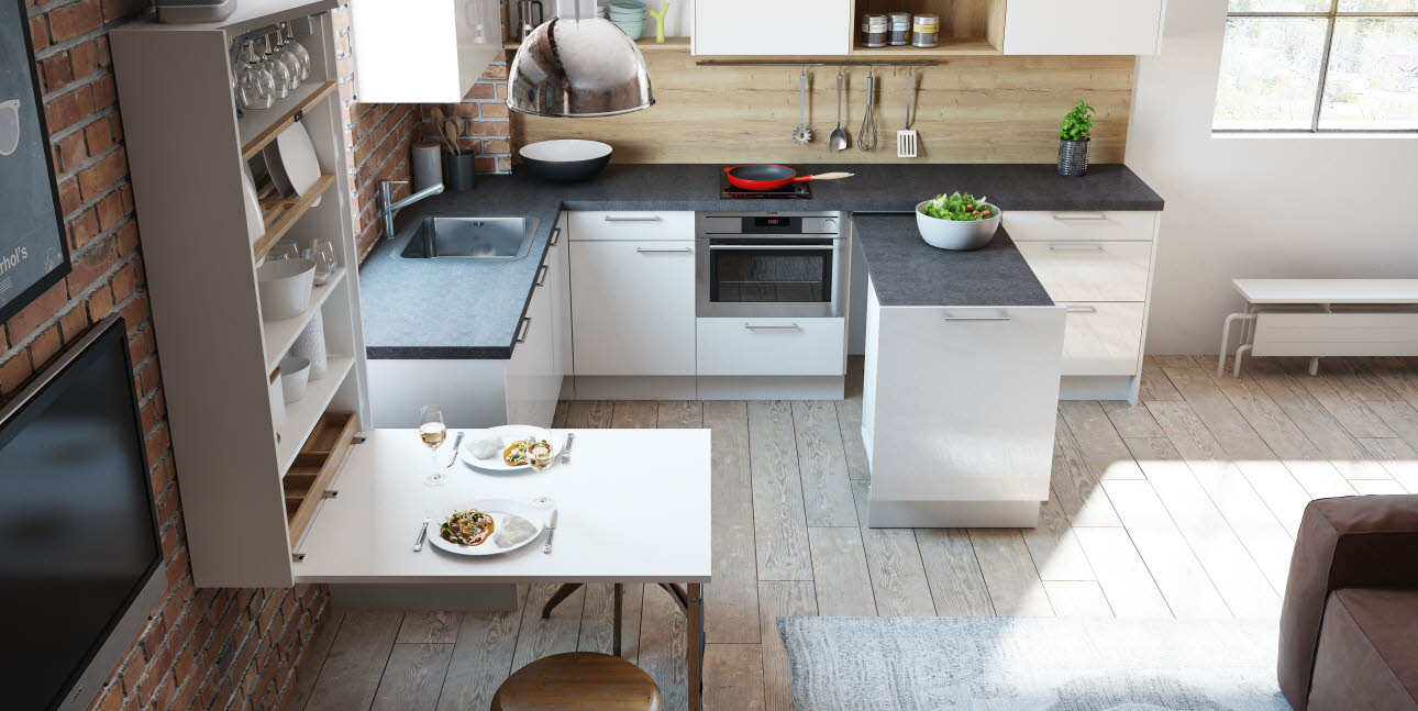 Size zero kitchen: Luna white