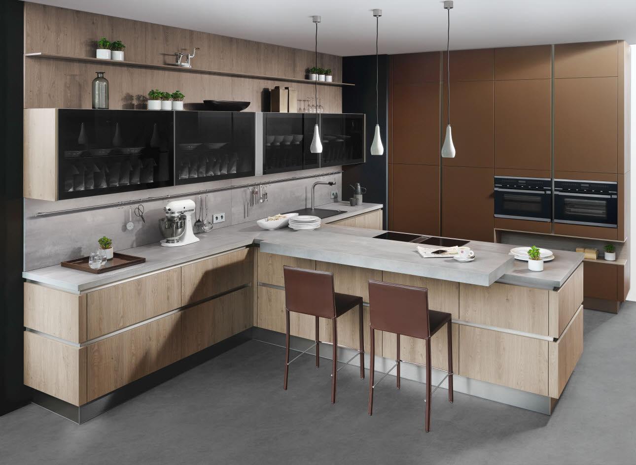 lederoptik k che moderne k che ewe. Black Bedroom Furniture Sets. Home Design Ideas